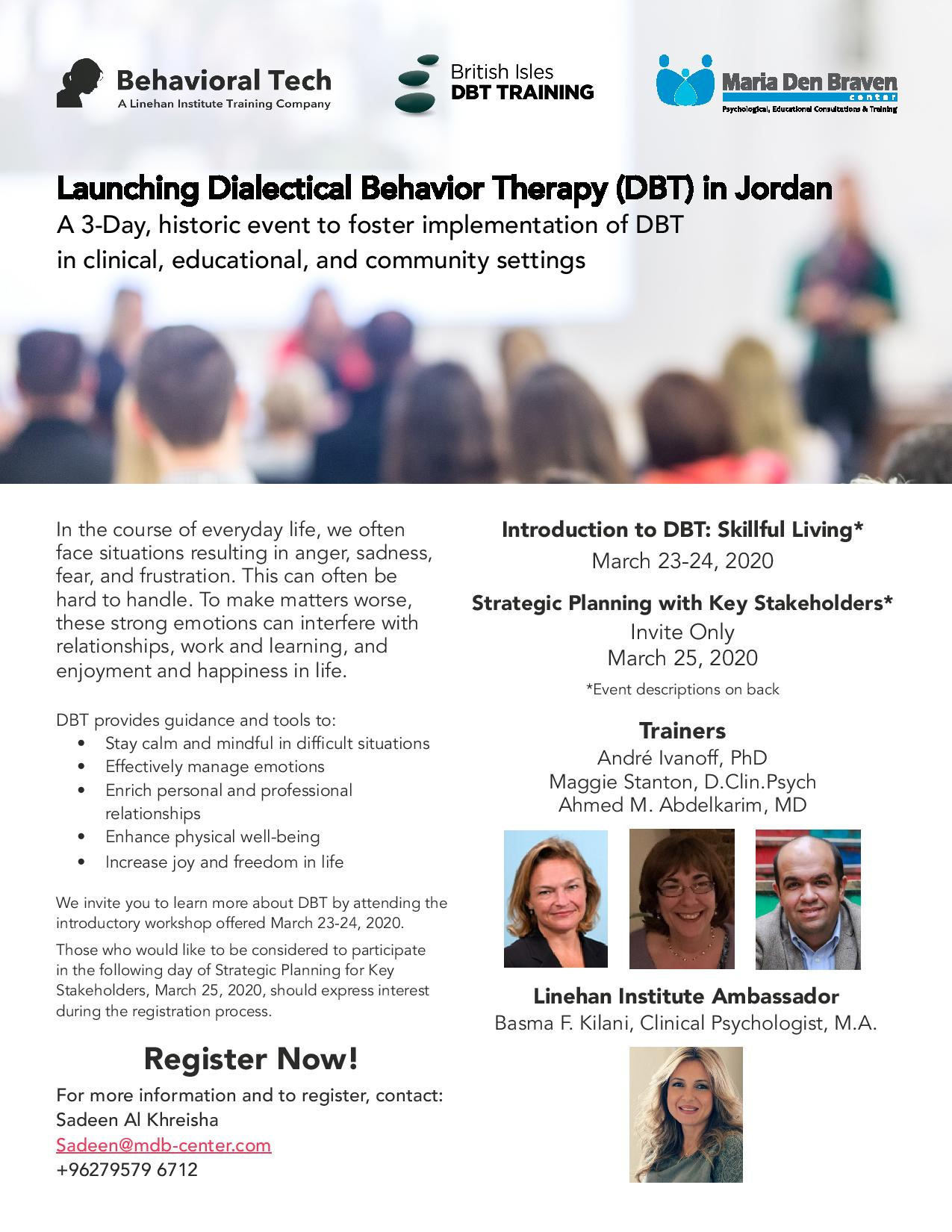 Launching Dialectical Behavior Therapy (DBT) in Jordan